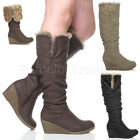 WOMENS LADIES FOLD OVER FUR CUFF WINTER ZIP WEDGE CASUAL CALF KNEE BOOTS SIZE