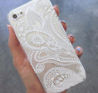 White Henna Paisley Flower Mandala Floral Case Cover For Phone iPhone 5 5S 5C