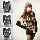 Womens Tiger Printed Batwing Knitted Top Long Sleeve Pullover Jumper Sweater