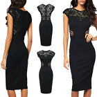 2014 Fashion New  Women Black Hollow Out Sexy Lace Insert Bodycon Dress C