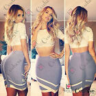 Womens Boutique Two Piece Set Lace Crop Top Bodycon Asymmetric Skirt Party Dress