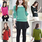 Women Peter Pan Collar Long Sleeve Casual Sweaters Blouse Pullover Slim Tops
