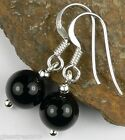 FREE P&P Black Onyx drop/dangle ear-rings - 8mm stones (+/-)