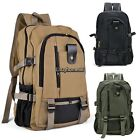 New Outdoor Men's Military Vintage Canvas Backpack Hiking Camping Travel Bag USA