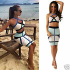 Womens Boutique Two Piece Bodycon Crop Top Bralet Blue White Party Skirt Dress