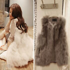 Ladies Long Faux Fur Waistcoat Vest Gilet Outerwear Black White Khaki Modern Hot