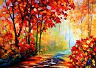 RED AUTUMN OIL PAINT LANDSCAPE WALL ART - ONE PIECE POSTER (A1 - A5 SIZES)