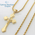 """24&30"""" men stainless steel gold little cross pendant 3.5mm rope Necklace Chain 2"""
