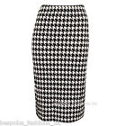 WOMENS LADIES DOGTOOTH BODYCON ELASTICATED WAIST PENCIL MIDI SKIRT SIZE 8-20