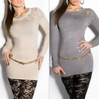 Women's Long Sleeve Crewneck Lace Studded Sweater Pullover - S/M (US 2-4-6)