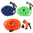 Flexible Latex 25 50 75 100 FT Expanding Garden Water Hose Pipe w / Spray Nozzle