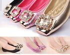 NEW WOMENS BALLERINA FLATS PUMPS RHINESTONE BOW COMFY SHOES