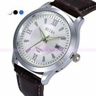 Leather Quartz Analog Men's Alloy Case Sport Date Calendar Casual Wrist Watches