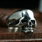 Men's Vintage Punk Gothic Skull Biker Ring Silver Stainless Steel US Size 8-15