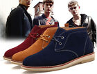Stylish Mens Faux Suede Classic Boots Flats Lace Up British Style Casual Shoes