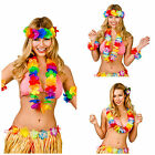 HAWAIIAN 4 SET NOVELTY FANCY DRESS COSTUME ACCESSORIES HULA LUAU ZULU LEIS LEI