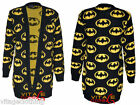 Womens Ladies Long Sleeve Superhero Batman Knitted Top Knitwear Cardigan 8-14