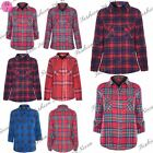 Womens Ladies Casual Tartan Check Lumberjack Turn Up Sleeve Button Shirt Tops