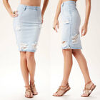 High Waisted Classic Pencil Shape with Slight Distressing Throughout Denim Skirt