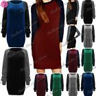 Womens Ladies Contrast Long Sleeve Chunky Knit Oversize Sweater Jumper Dress Top