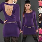Women's Studded Back Chain Long Pullover Sweater Top - S/M (US 2-4-6)
