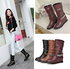 Womens Faux Leather Decor Vogue Round Toe Riding Comfy Wedge Heel Mid Calf Boots
