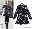 spring new style women Navy shift  daisy print  floral dress pleated skirt