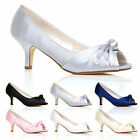 CLASSIC BRIDAL MID HEEL SATIN SHOES PEEP TOE PUMPS WOMENS LADIES GIRLS SANDALS