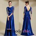 Blue Satin Long Sleeve Lace Evening Prom Bridesmaid Ball Wedding Gown Maxi Dress