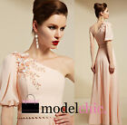 Pink One Shoulder Chiffon Evening Prom Bridesmaid Ball Wedding Gown Maxi Dress