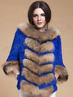 100%Real Genuine Rabbit Fur With Raccoon Fur Collar Trim Coat Winter Warm Luxury
