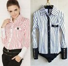 Long Sleeved Striped Bodysuit Classic Fit Blouse Top Shirt- XS  S M L