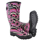 Ladies Floral Designer Wellington Rain Boots Wide Calf Snow Winter Flat Wellies
