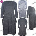 Womens Ladies Baggy Stretchy 3/4 Sleeves Knit Melange Pockets Tunic Ruched Dress