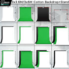 Photography Studio Green White Black Muslin Backdrop 2Sizes BackgroundStand Kit