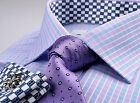 Dignified Double Checkered Mens Formal Business Shirts Flowers Fine Boss Fashion