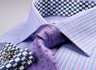 Purple Blue Plaid Checkered Mens Formal Business Dress Shirt Money Boss Fashion