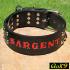 "Domed Stud Black/Espresso Leather 2"" 51mm K9 Dog Collar, Personalized Pet Name"