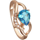 Blue Crystal Flower/Drop Shape 18K Rose Gold Ring 7 8 9 Sizes for Jewelry Set