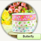 100Yards/roll Grosgrain Ribbon Printed Sunflowers/Butterfly Diy Hairbows