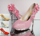 HOT Gorgeous Glitter Wedding Bridal Evening Party Crystal High Heels Women Shoes