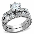 Wedding & Engagement Ring 3.10 Ct Round Cut AAA CZ Stainless Steel Set