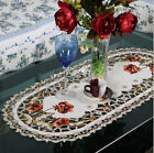 1pc Red Embroidery Rose Daisy Flower Lace Decor Home Wedding Table Runner