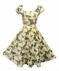New Vtg 1950s style Grey Cream Butterfly Rockabilly Pin-up Party Swing Dress