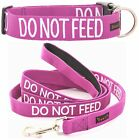 Snap Buckle Dog Collar Leash Sets Padded Handle Color Coded DO NOT FEED Purple