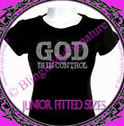 GOD is in control - Clear - Rhinestone Iron on T-Shirt - Hot Fix Bling Lord Top