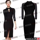 Women's Black Split Hem Formal Evening Slit Clubwear Cocktail Party Midi Dresses