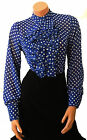 Sheer Crepe chiffon Edwardian style dandy Blue White Polkadot Blouse, high neck