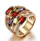 18K GP Gold Plated Swarovski Crystal Colorful Luxury Wide Band Ring USPS C