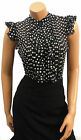 New Black Polka Dot Sheer Crepe chiffon Vtg style Ruffle Office Work  Blouse